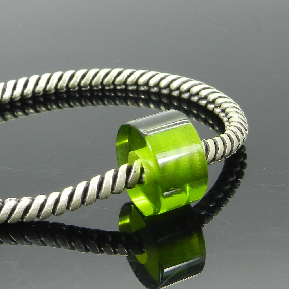 Synthetic Peridot Hydro 14x8x5mm Round Flat Beads