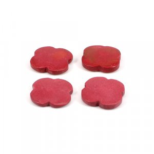 Synthetic Pink Coral 15x15mm 5.35 Cts Clover Flat 4 Pcs Loose Gemstone