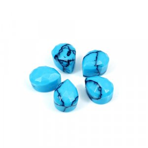 Synthetic Turquoise 10.20 Cts Pear Checker Cut 9x7mm 5 Pcs Wholesale Lot Loose Gemstone
