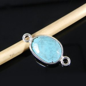 Synthetic Turquoise 18x9mm Fancy 925 Sterling Silver Double Loop Connector
