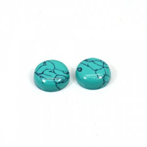 Synthetic Turquoise 4.2 Cts Round Cabochon 9mm 1 Pair Loose Gemstone