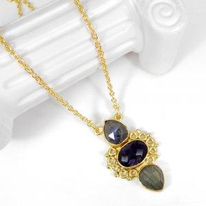 Three Stones Labradorite Amethyst 22 Inch 18K Gold Plated Designer Chain Necklace