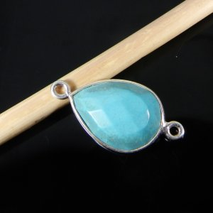 Tibet Turquoise 21x11mm Pear 925 Sterling Silver Double Loop Connector