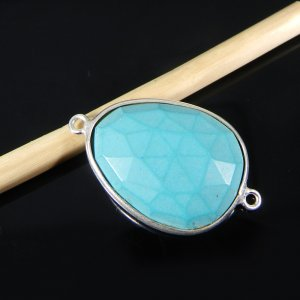 Tibet Turquoise 26x16mm Fancy 925 Sterling Silver Double Loop Connector
