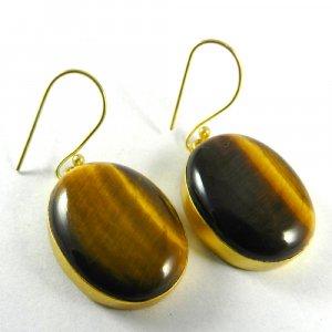Tiger Eye Yellow 18k Gold Plated Bezel Earring