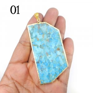 Turquoise Fancy Shape Gold Electroplated Pendant