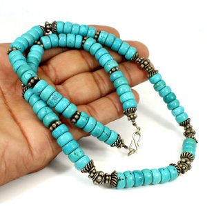 Turquoise Heishi Beads White Metal Necklace Roundel Cabochon 6 mm 70.29 Gram Beads Necklace