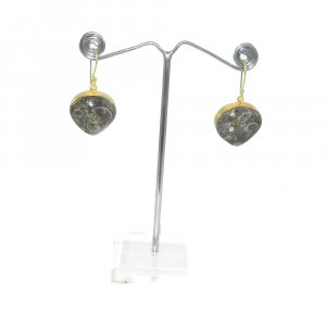 Turtella Jasper 18k Gold plated Bezel Earring