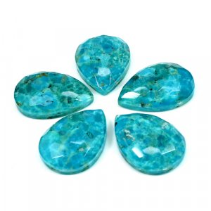 USA Turquoise+Crystal Quartz Doublet 18x25mm Pear Football 21.80 Cts