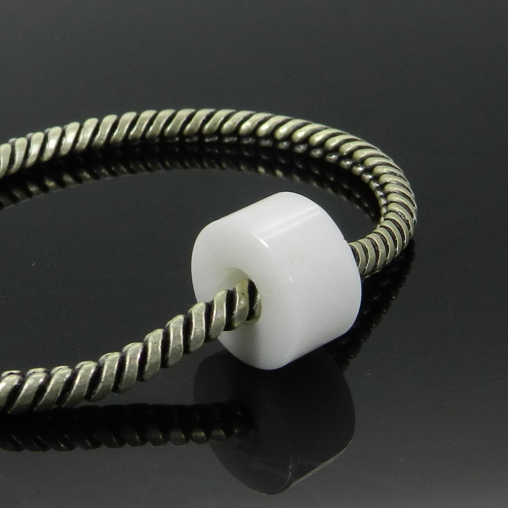 White Agate 14x8x5mm Round Flat Beads