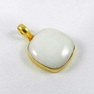 White Agate 35mm 18k Gold Plated Bezel Pendant