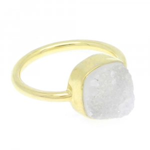 White Druzy 10x10mm Cushion 925 Silver With Gold Plated Bezel Set Ring