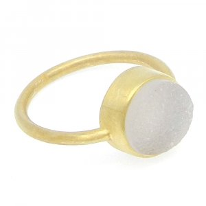 White Druzy 11x11mm Round 925 Silver With Gold Plated Bezel Set Ring