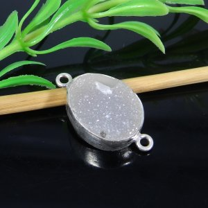White Druzy 25x14mm Oval 925 Sterling Silver Double Loop Connector
