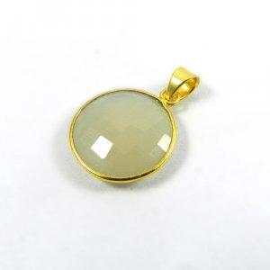 White Onyx Gemstone 31mm 18k Gold Plated Bezel Pendant