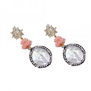 Wholesale Handmade Biwa Pearl Gold Plated  Womens Earring