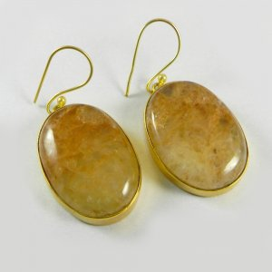 Yellow Aventurine 18k Gold Plated Bezel Earring