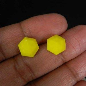 Yellow Chalcedony 10x10mm Hexagon Rose Cut 3.65 Cts
