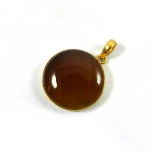 Yellow Chalcedony 38mm 18k Gold Plated Bezel Pendant
