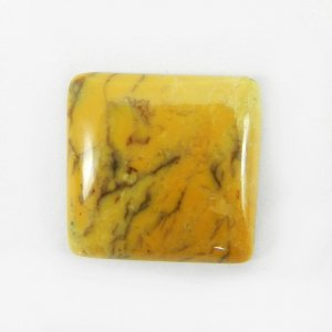 Yellow Dendritic Opal 18x18mm Square Cabochon 13.0 Cts