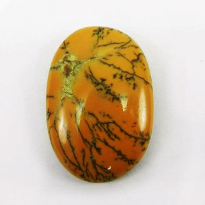 Yellow Dendritic Opal 35x24mm Oval Cabochon 38.9 Cts