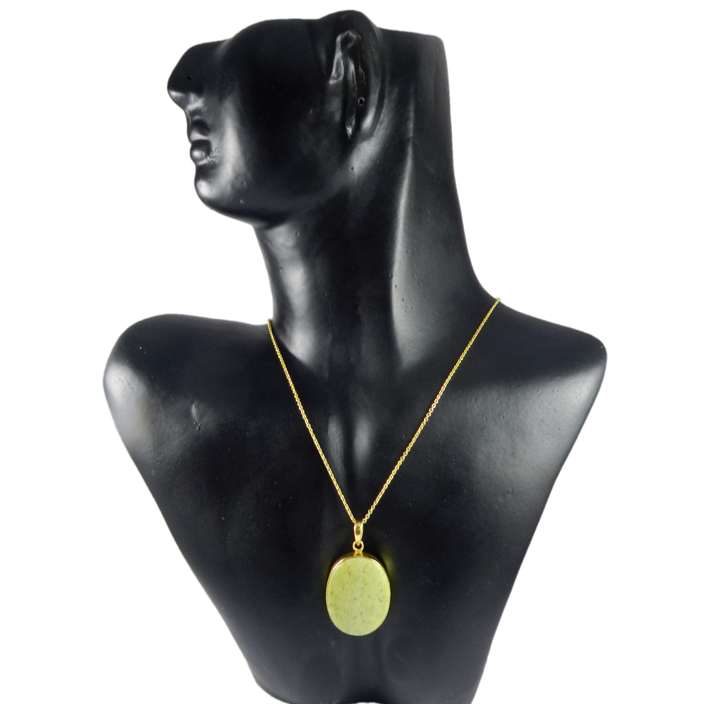 Yellow Jasper Oval 45mm 18k Gold Plated Bezel Pendant