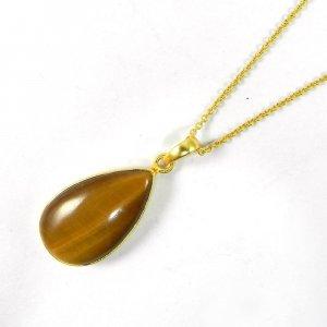 Yellow Tiger Eye 41mm 18k Gold Plated Bezel Chain Pendant