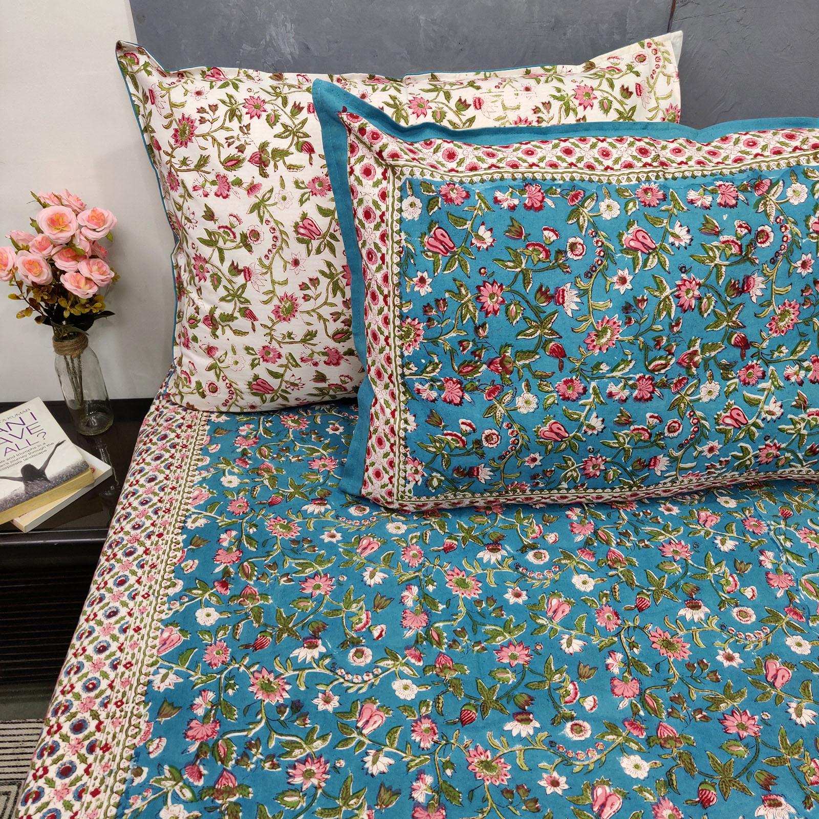 Blue Based Floral Double Bedsheet