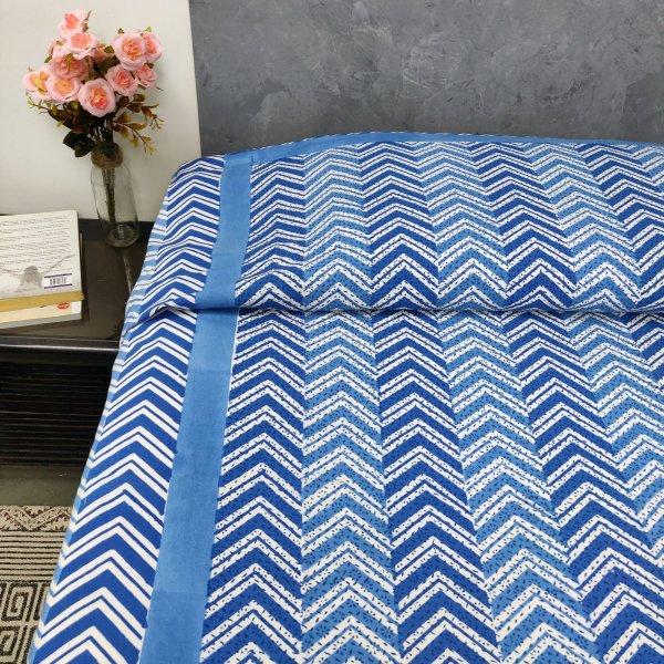 Blue Zig Zag Print Single Size Bedsheet
