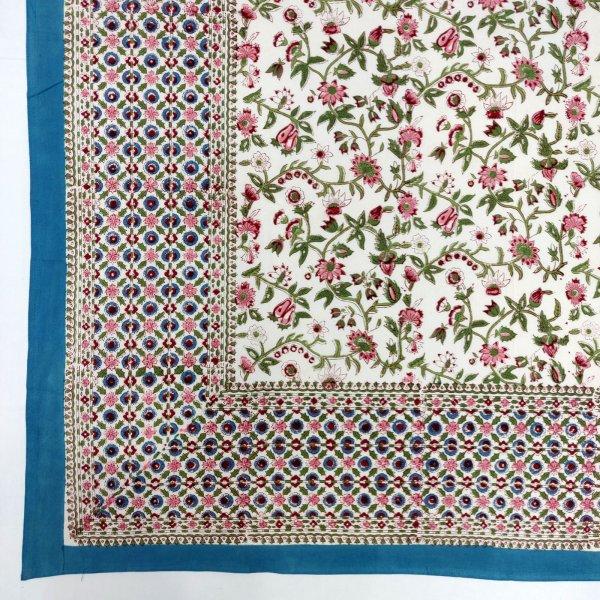 Floral White Based Double Bedsheet