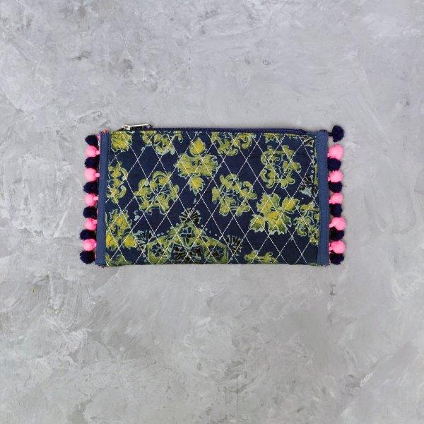 Green Floral Print Blue Based Wallet