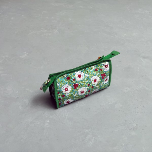 Green Floral Small Toilet Pouch