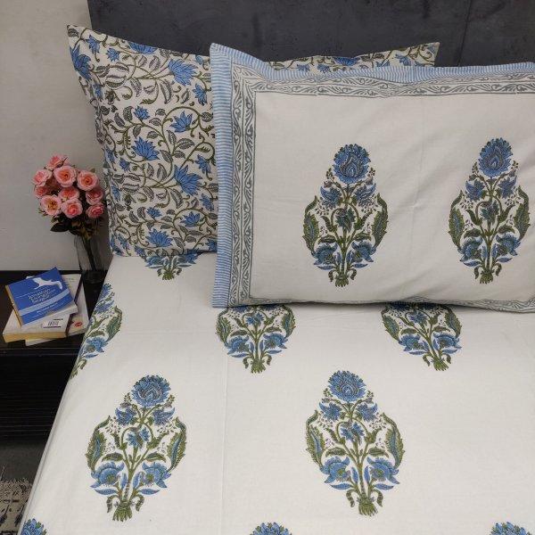 Aqua Sky Blue Green  Mughal Boota Double Bedsheet