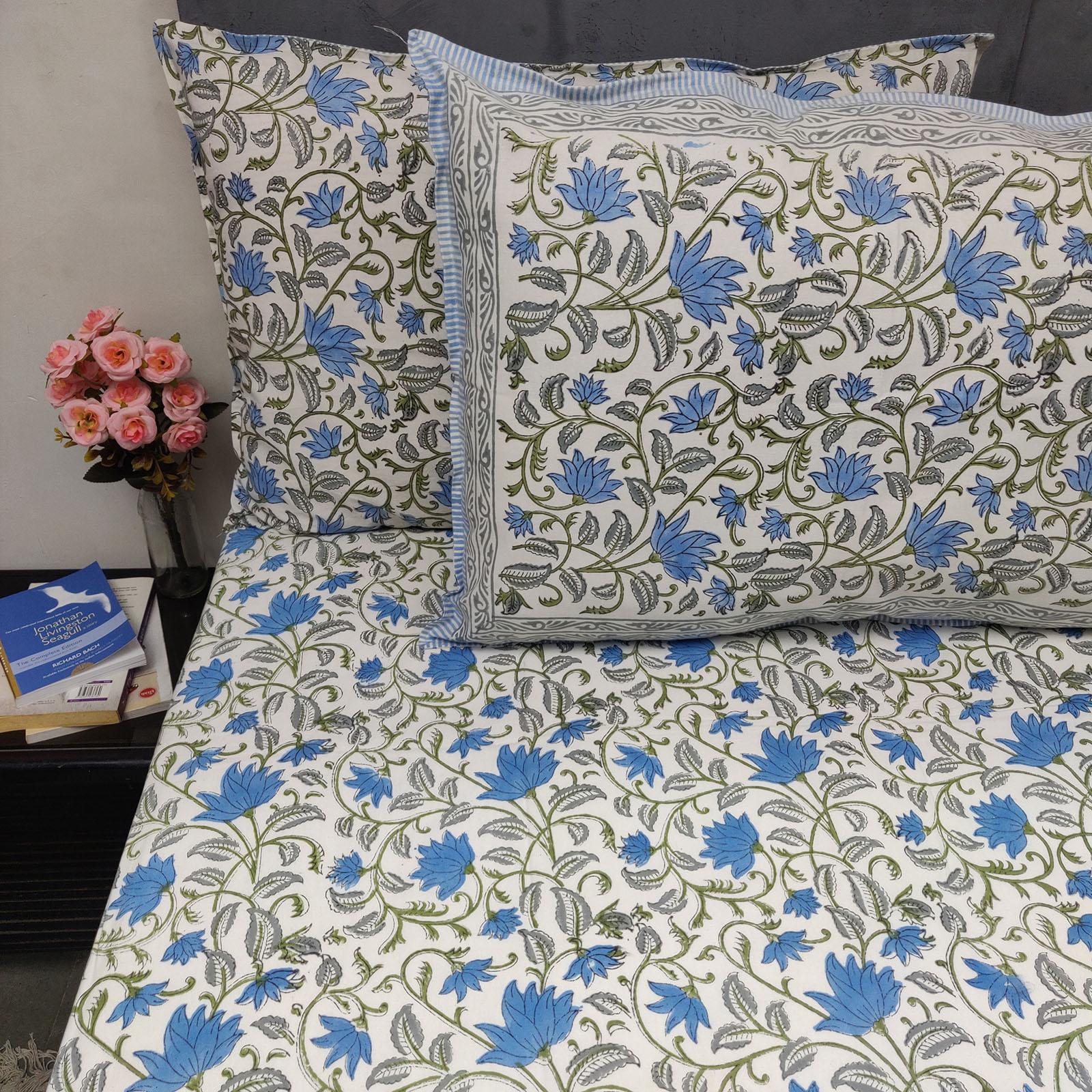 Aqua Sky Blue Green Jaal Double Bedsheet