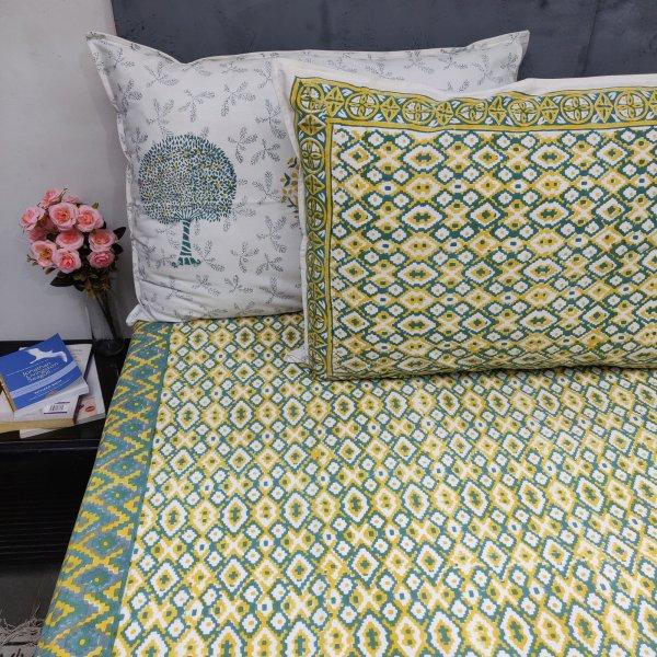 Green Yellow Symmetric Double Bedsheet