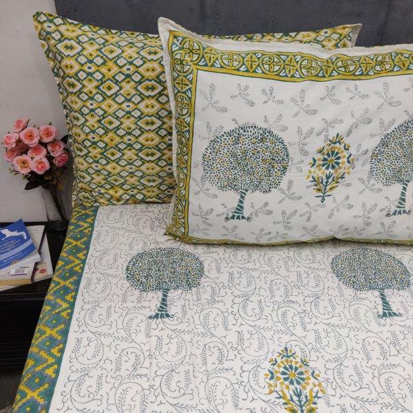 Tree Lemon Yellow Green Double Bedsheet