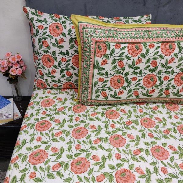 Full Bloom flower White Base Double Bedsheet