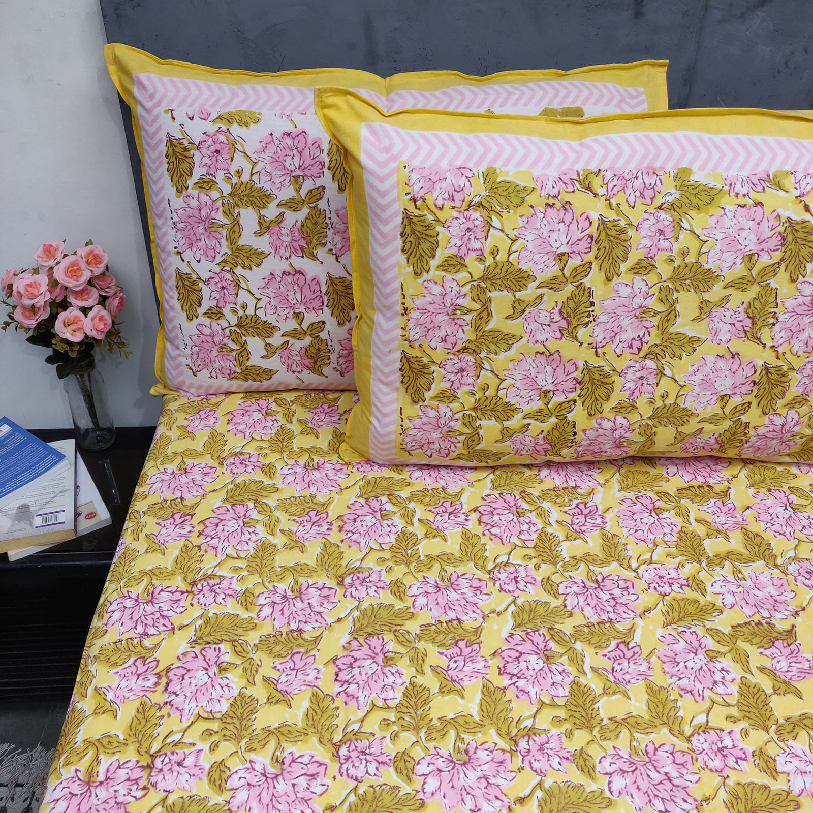 Light Yellow Floral Double Bedsheet