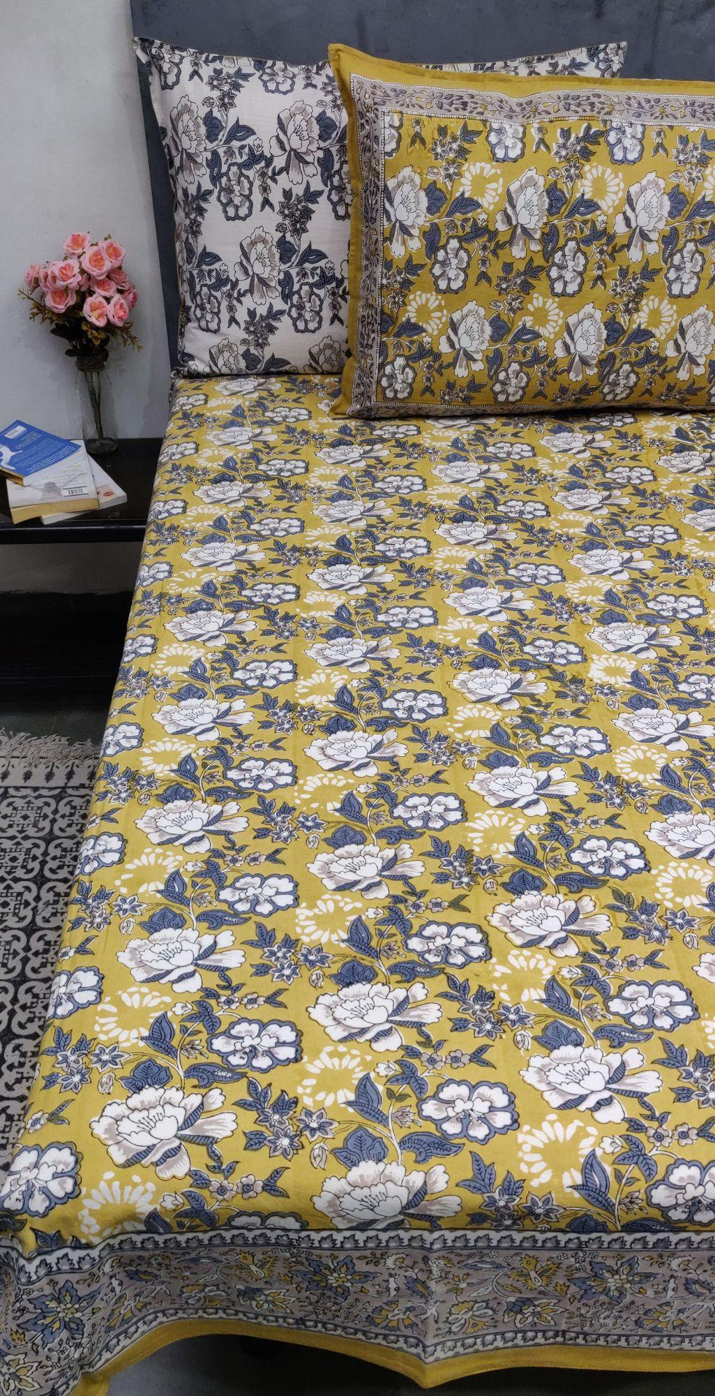 Floral Mustard Double Bedsheet