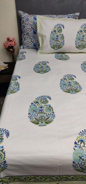 Floral Handblock Double Bedsheet TCBHD100