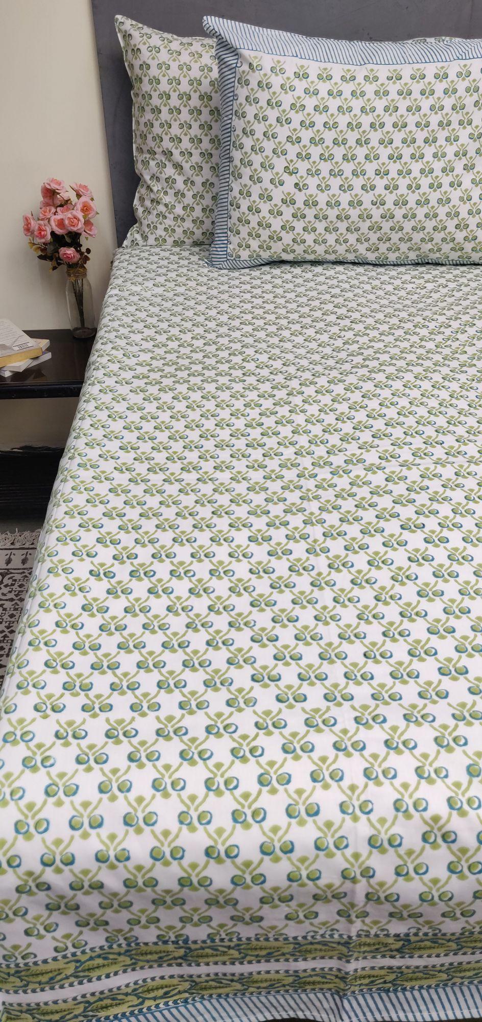 Floral Handblock Double Bedsheet TCBHD101