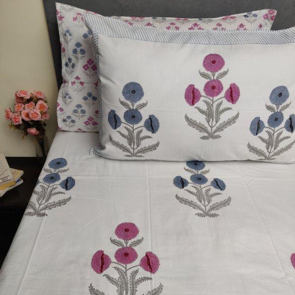 Floral Handblock Double Bedsheet TCBHD105
