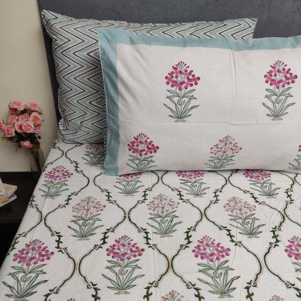 Floral Handblock Double Bedsheet TCBHD106