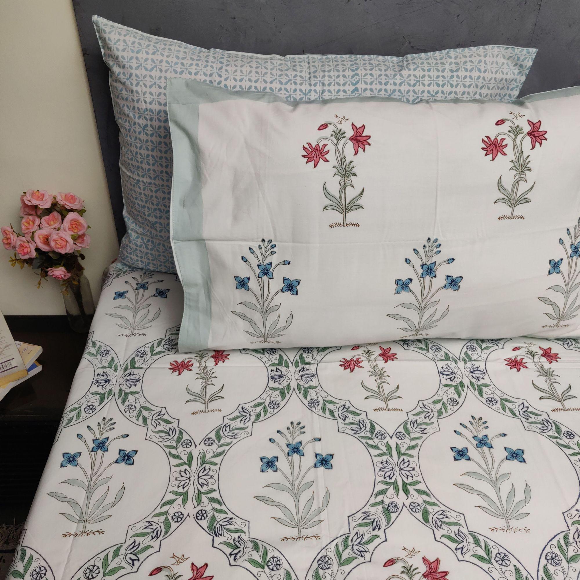 Floral Handblock Double Bedsheet TCBHD107
