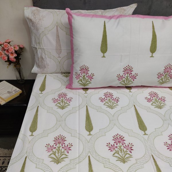 Pine Pink Mughal Boota Double Bedsheet