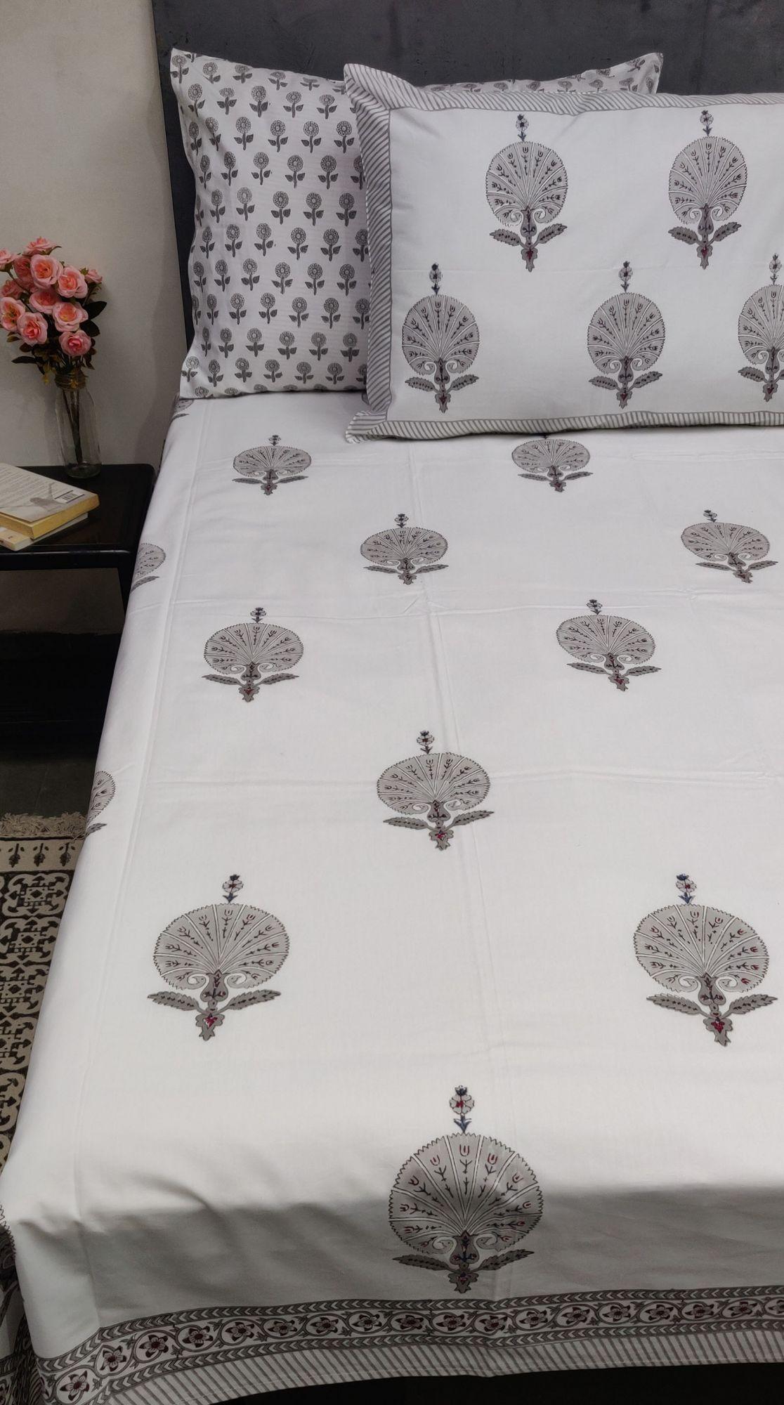 Carnation Grey Mughal Boota Double Bedsheet