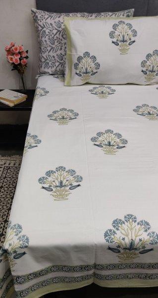 Nane Aqua Green Blue Mughal Boota Double Bedsheet