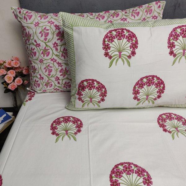 Floral Handblock Double Bedsheet TCBHD87