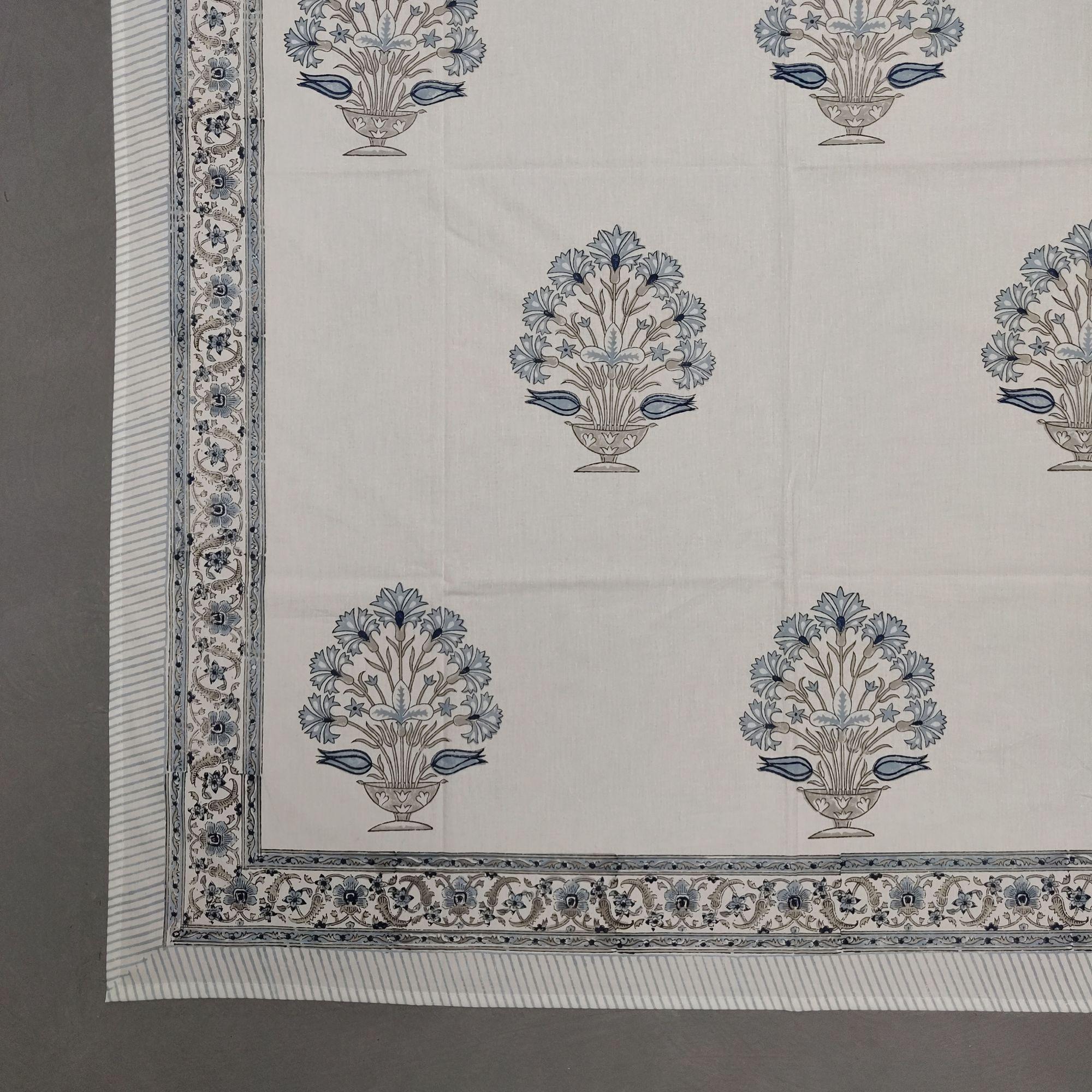 Floral Handblock Double Bedsheet TCBHD93