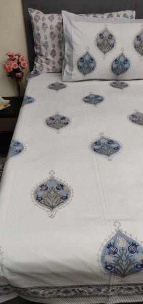 Floral Handblock Double Bedsheet TCBHD96